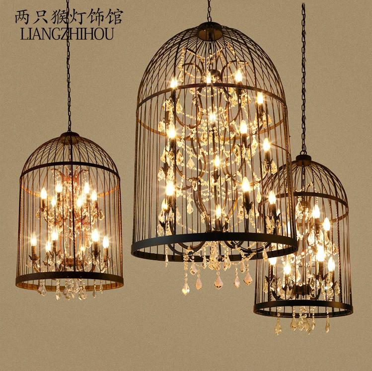 美式乡村工业风铁艺水晶鸟笼吊灯北欧复古餐厅服装店楼梯酒吧台灯