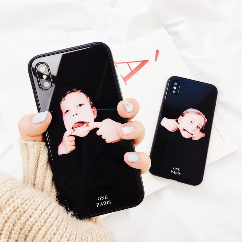 欧美搞怪鬼脸玻璃X苹果6手机壳iPhone7plus/8/6s个性男女全包保护套情侣8p新款防摔7P潮牌黑色6splus镜面