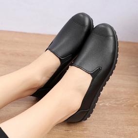 肯德基全黑包脚工鞋平跟防滑单鞋
