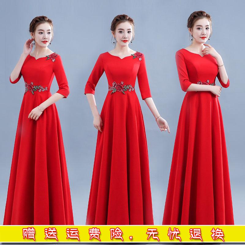 合唱服长裙大人大合唱团体演出服女礼服中老年指挥主持人舞台服装