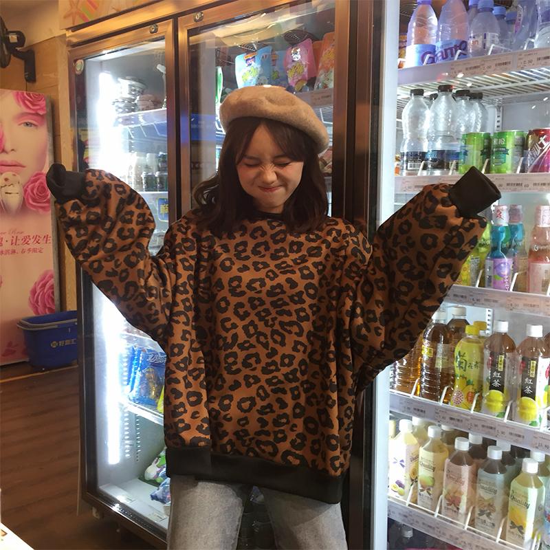 【实拍/250克加绒】秋季2018新款韩版原宿风豹纹宽松超火酷卫衣女
