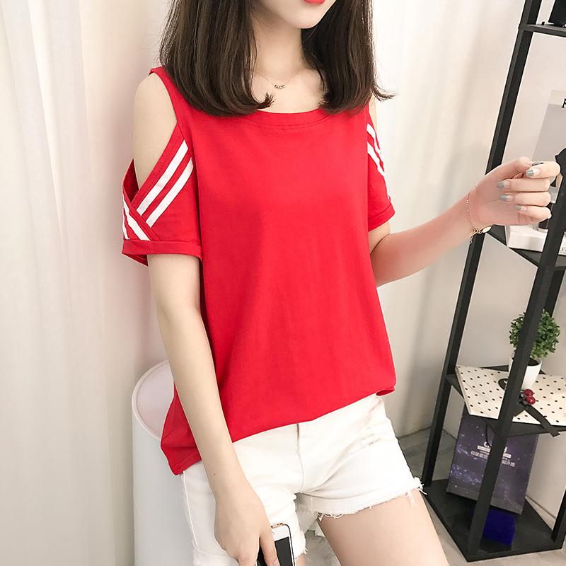 【2件59元】短袖t恤女夏�b2018新款�n版��松�W生�棉露肩半袖上衣