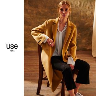 双面呢羊毛大衣女USE2020秋冬款驼色中长款双面绒大衣毛呢外套OL