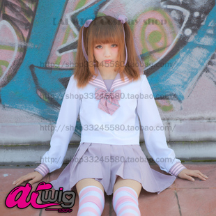 AI WIG ice cream three line color pink purple long sleeved sailor