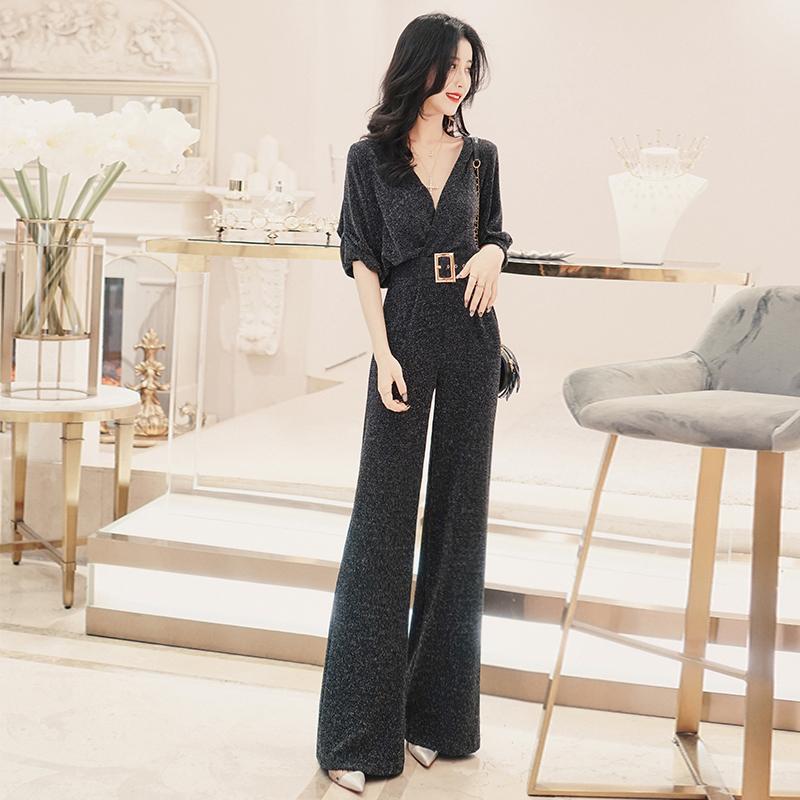 韩版气质V领亮丝短袖高腰连衣裤春装2020新款女连体裤子休闲显瘦