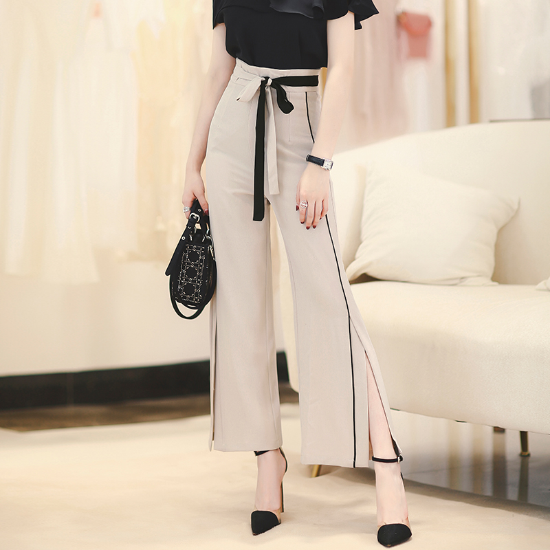 MISS FLY Korean style drape wide-leg pants autumn 2020 new women's slit high-waist casual pants lace-up trousers