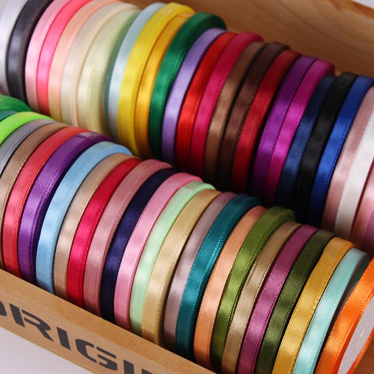6mm丝带礼品盒包装细绸带缎带节日婚庆喜糖绸带织带编发彩带卷