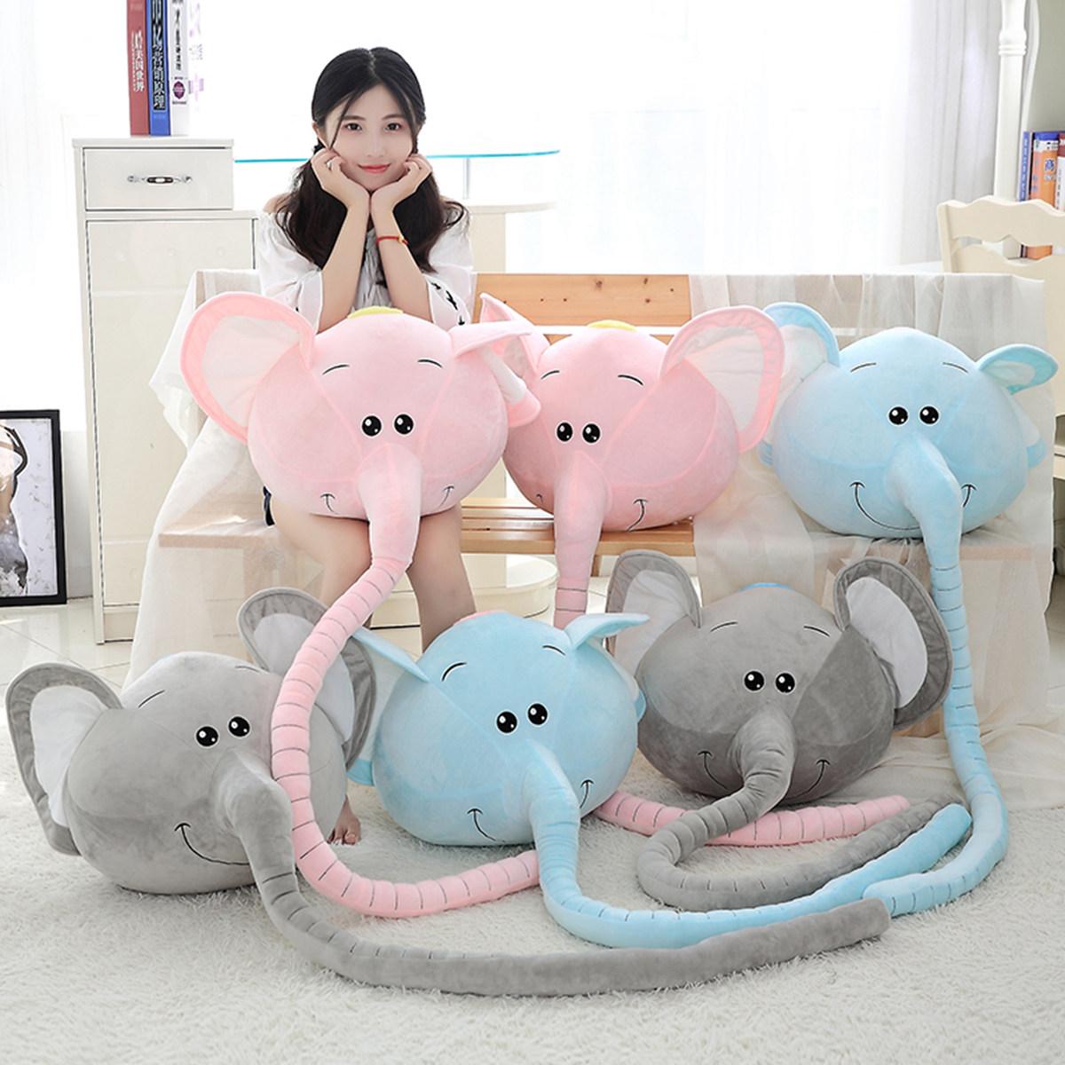 公仔靠垫抱枕卡通长鼻象大象小象 毛绒玩具丑萌娃娃睡觉枕头沙发