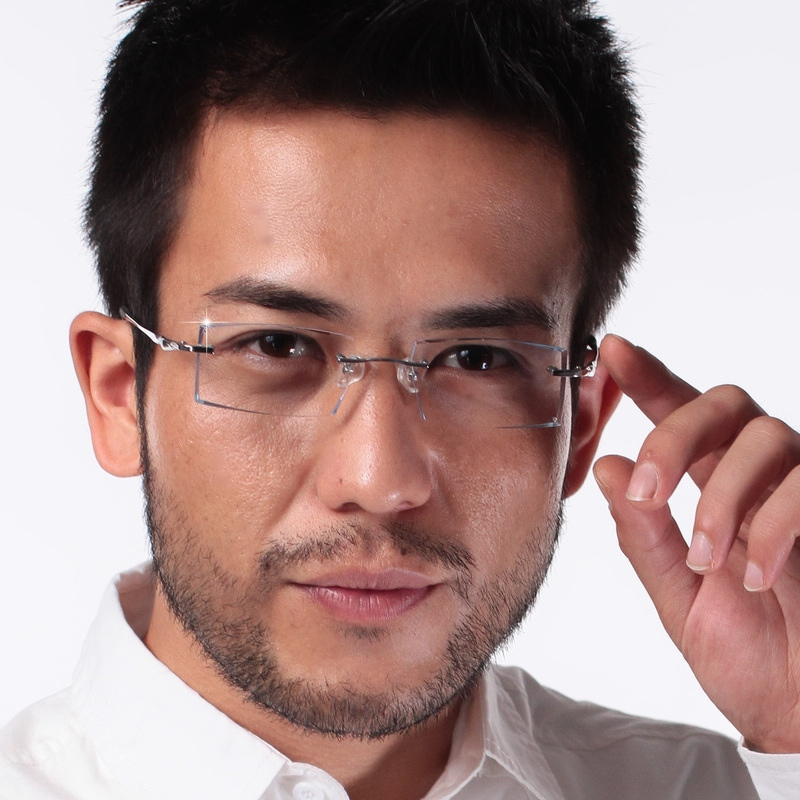 Diamond cut edge and diamond inlaid ultra light pure titanium frame radiation proof glasses for mens business sports 5005m