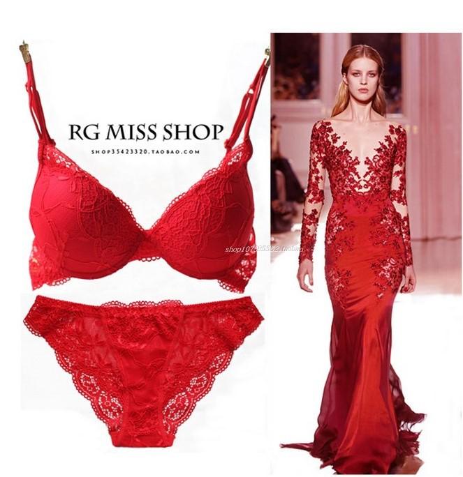 法国风女士性感蕾丝边文胸罩 深V本命年结婚内衣套装 特价包邮