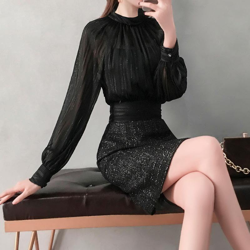 网纱连衣裙春装2019款女气质性感职业一步裙子礼服女宴会OL小黑裙