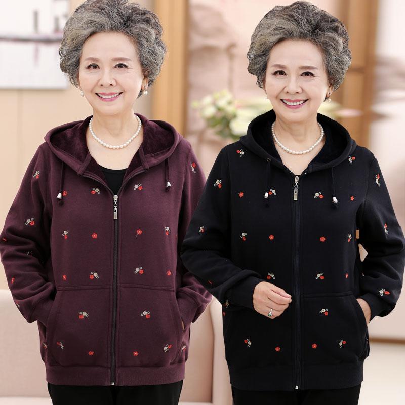妈妈春装加绒卫衣中老年人女奶奶运动服套装老人衣服太太春秋外套图片