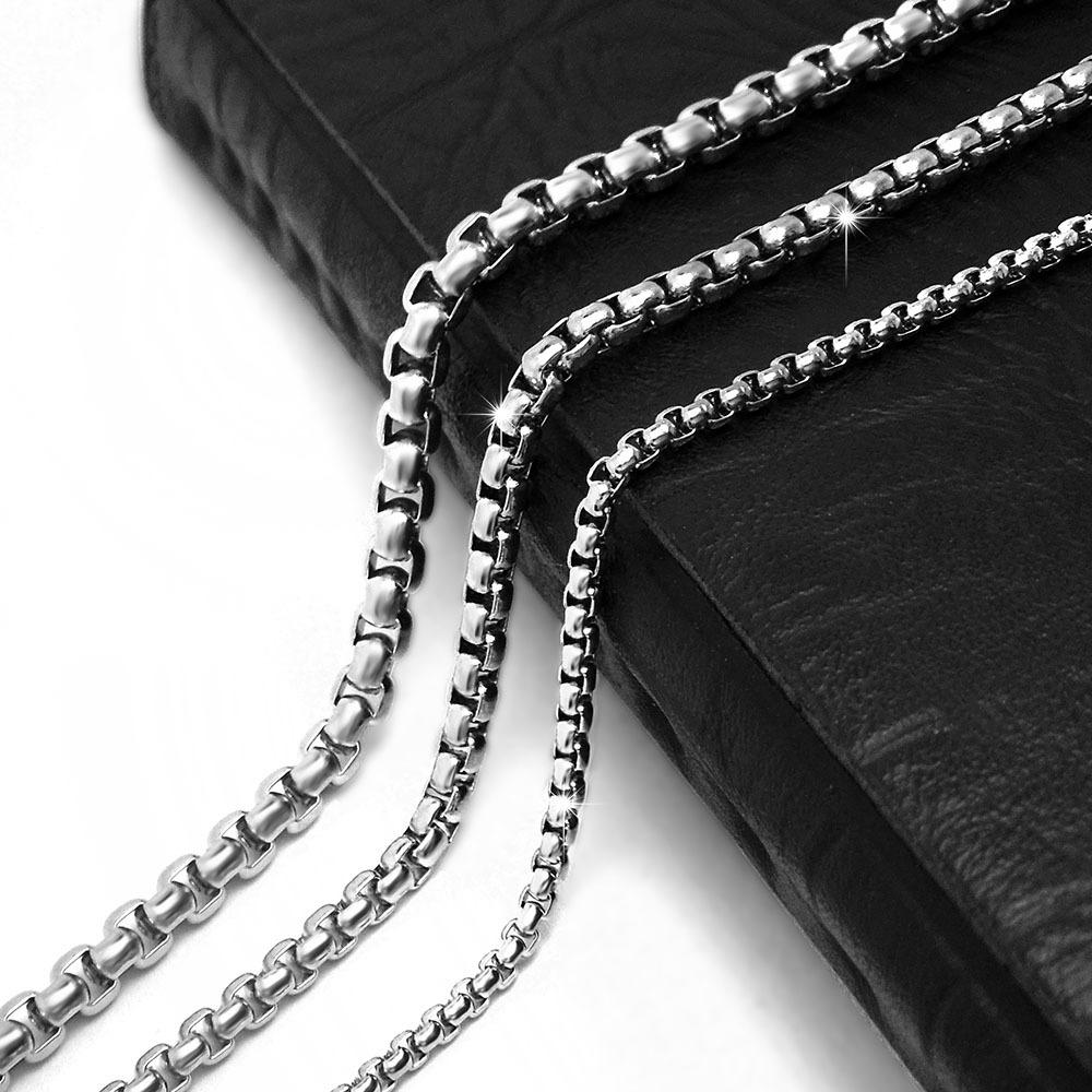 摇滚新款朋克复古哥特式环环相扣男士钛钢项链吊坠配链裸链配饰品