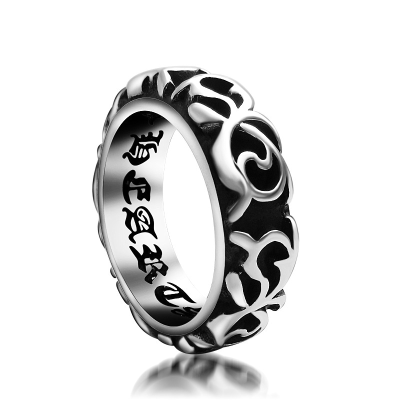 Rock new style punk brother retro rock ring engraving inner wall etched version ring fashion titanium steel hand decoration