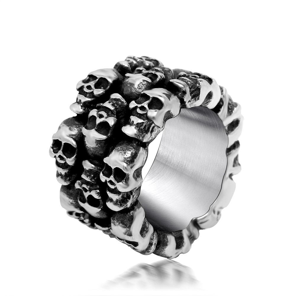 Rock new Punk Gothic series retro rock fashion personality skeleton ring titanium steel ring gift pop