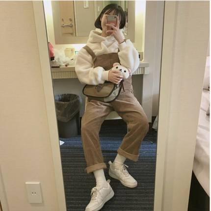 韩国ins 鬼马软糯少女可爱减龄毛茸茸卫衣+灯芯绒背带连体裤套装