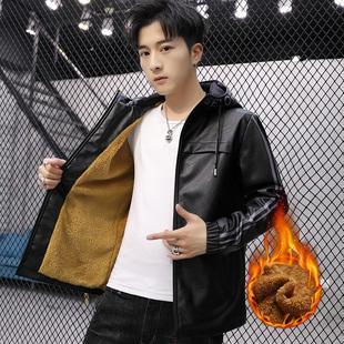 新款男士韩版潮帅气翻领短款皮夹克