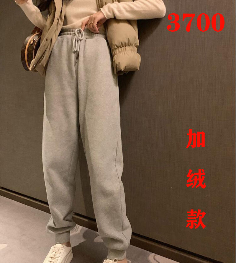 高腰加绒运动裤子女秋冬直筒宽松显瘦休闲束脚裤