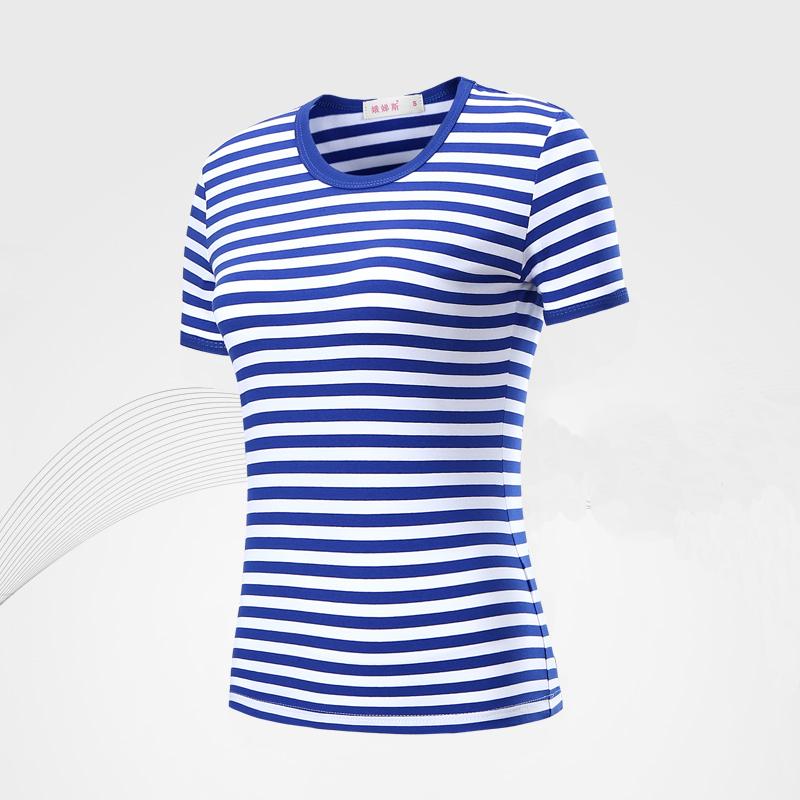 娥绨斯女装短袖海魂衫t恤夏季纯棉修身条纹亲子装海军风水手服T恤