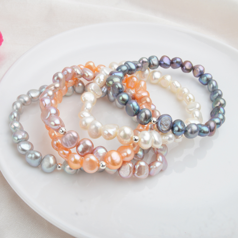 阿施琦特價天然淡水珍珠手鏈異形巴洛克復古風ins小眾手串925銀珠