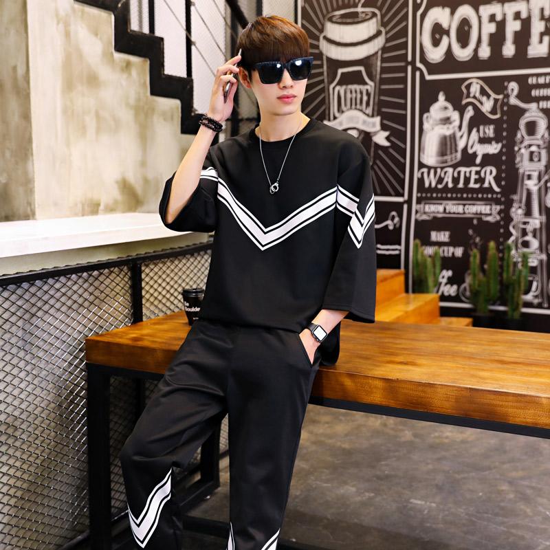 7分短袖T恤套装男士春季韩版宽松网红七分袖休闲半袖运动两件套潮