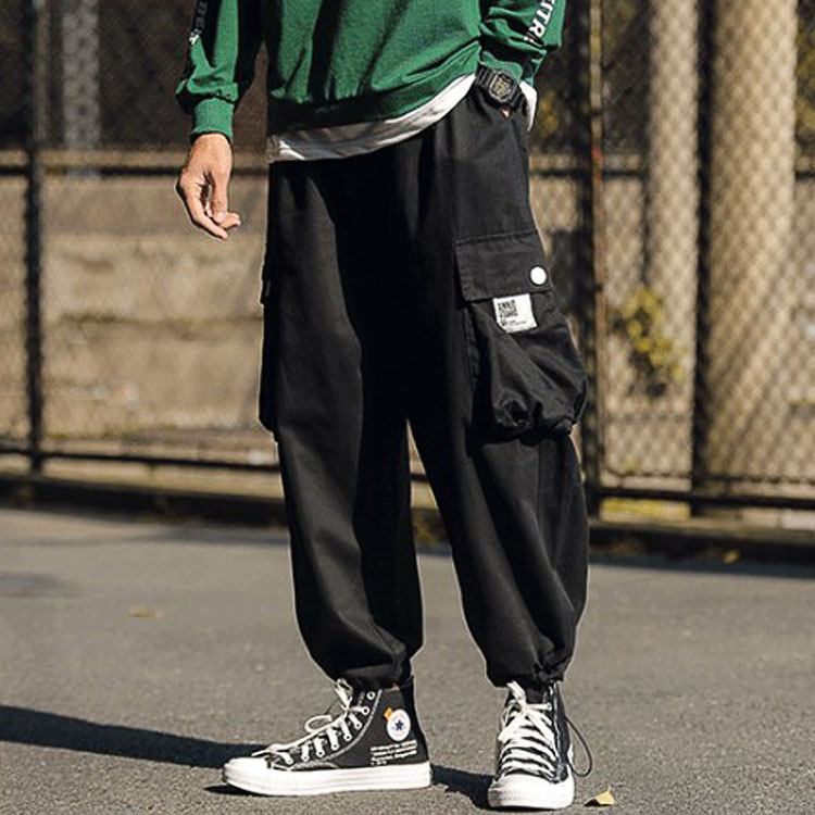 Spring versatile mens casual pants, leggings and bulky loose and fat drawstring overalls