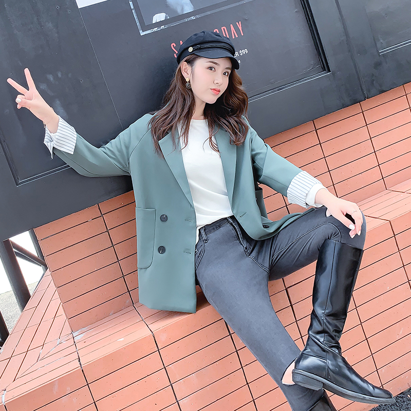Small suit coat womens Hong Kong flavor retro 2020 autumn dress new Korean loose casual British wind net red suit