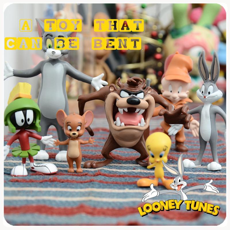 华纳怀旧公仔兔八哥翠儿大嘴怪旋风狗猫和老鼠傻大猫可弯曲玩偶