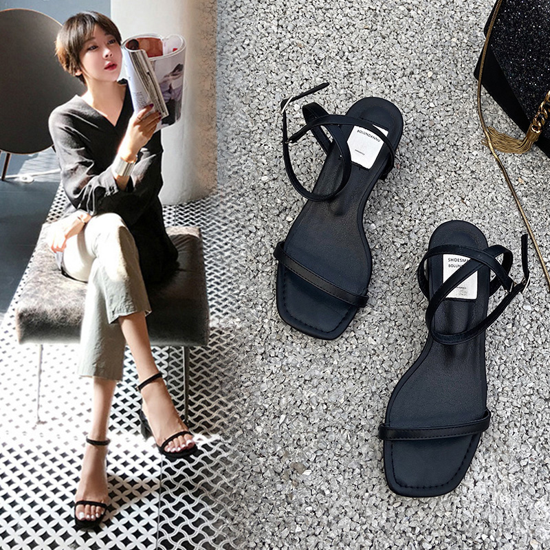 Thick heel sandals womens new 2020 summer square head one word buckle with open toe fairy wind black middle heel thin belt sandals