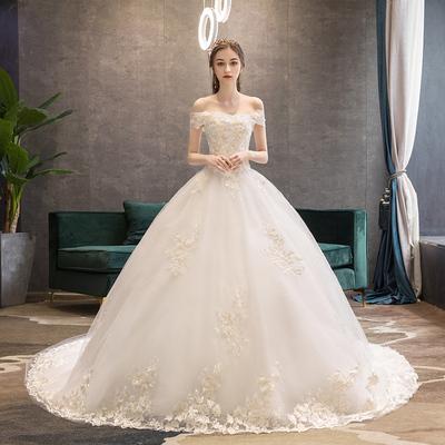 韩式轻婚纱2019新款新娘女法式森系公主一字肩显瘦超仙简约拖尾裙