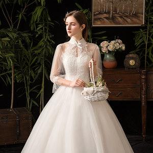 韩式轻婚纱2019新款新娘女森系赫本一字肩法式简约显瘦公主出门纱