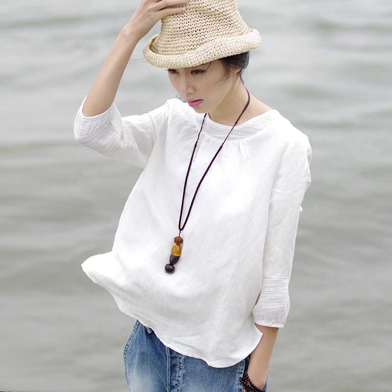 2019 summer new national style womens Linen White T-Shirt Large loose show thin cotton hemp seven point sleeve top for women