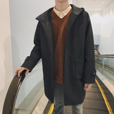 2017冬装新款男士中长款单排扣毛呢料风衣加棉连帽厚外套Y990P120