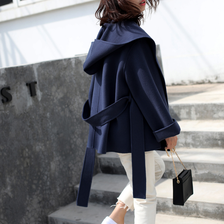 Autumn and winter 2020 hooded big swing silhouette haze blue short double-sided cashmere wool coat small cloaks