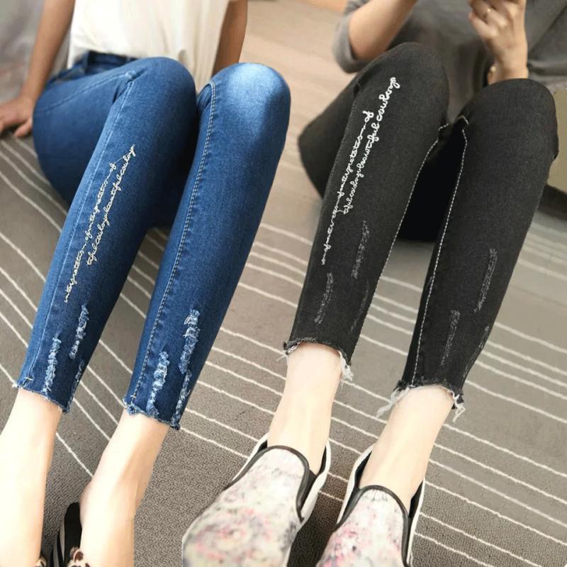 2017春夏新款高腰九分牛仔褲女修身顯瘦小腳褲學生彈力鉛筆長褲子