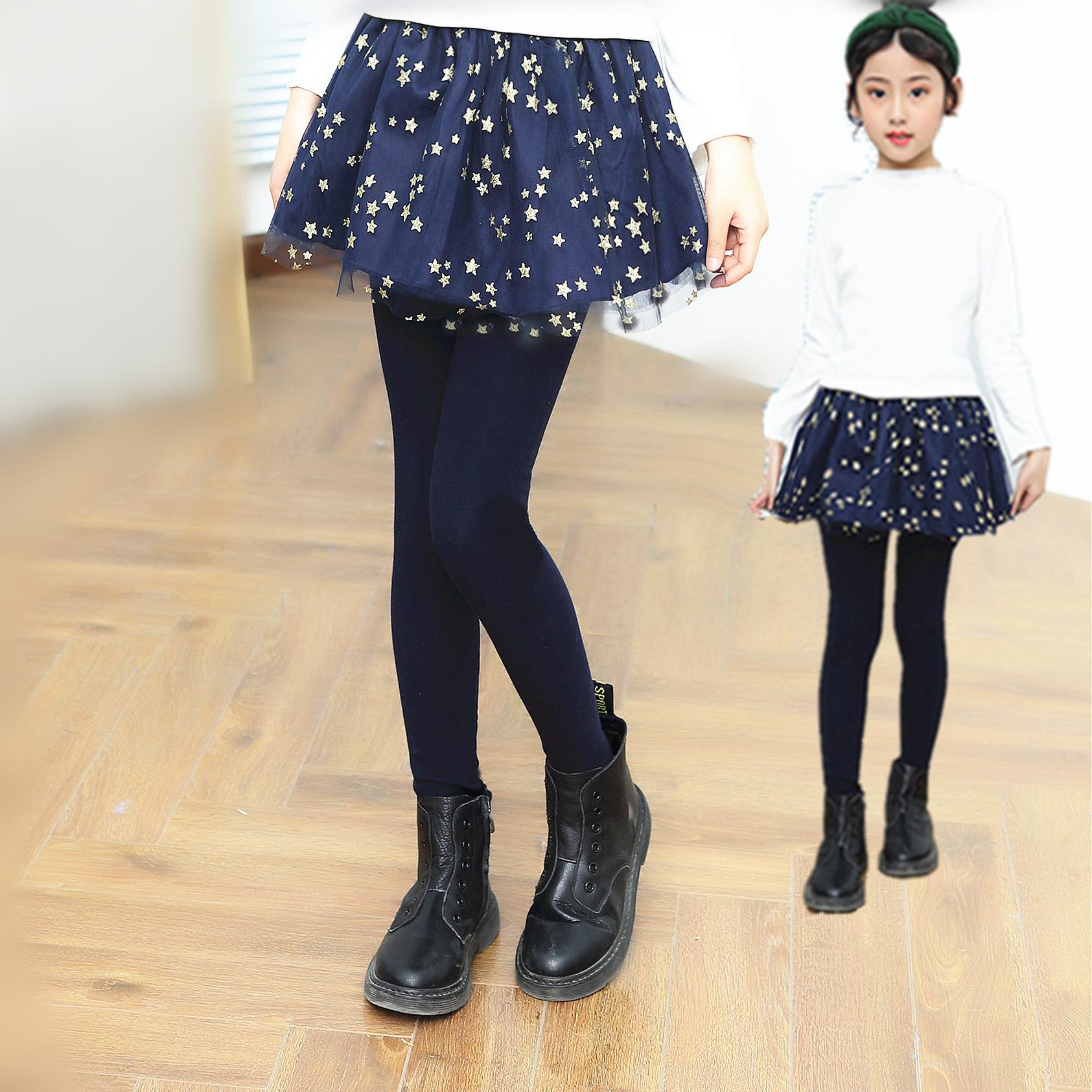 女童裤子2019新款春秋装外穿洋气薄款裙裤儿童假两件裤裙打底裤