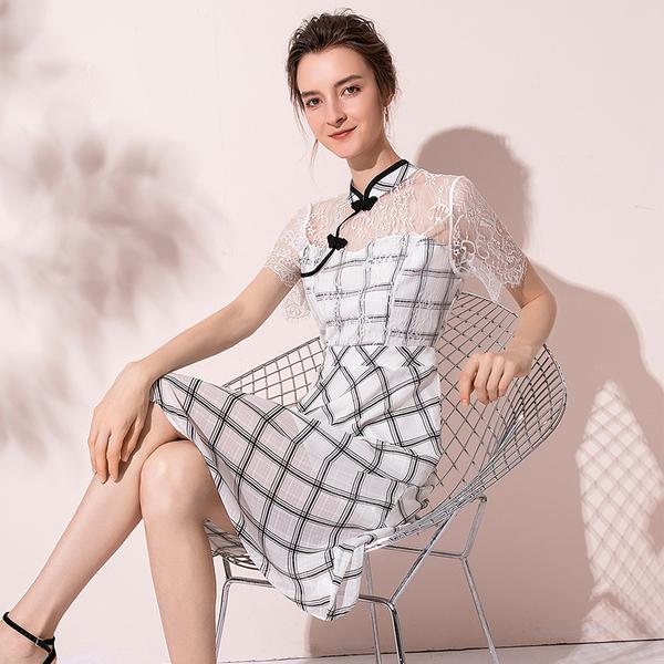 KTY12630#夏季拼接改良旗袍连衣裙2020新款蕾丝镂空气质格子连衣裙