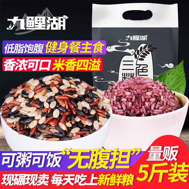 三色糙米低脂新米5斤五谷杂粮糙米饭黑米红米健身胚芽脂减粗粮饭