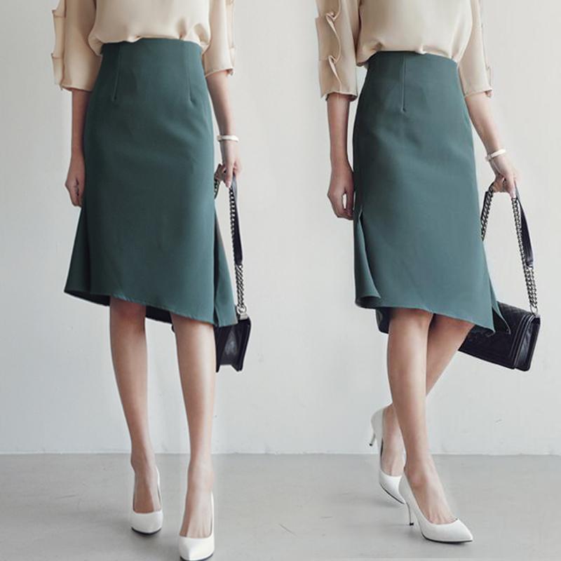 a字裙职业半身裙女春夏中长款高腰包臀裙黑色裙子通勤开叉半身裙