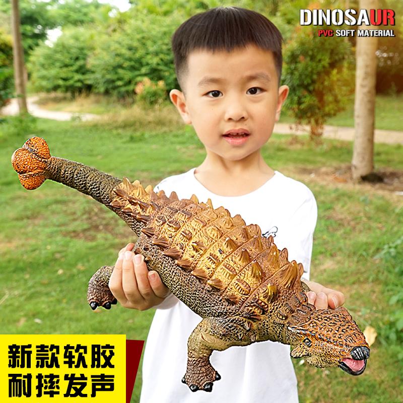 大号仿真软胶会叫恐龙儿童玩具动物模型霸王龙三角龙甲龙塑胶男孩