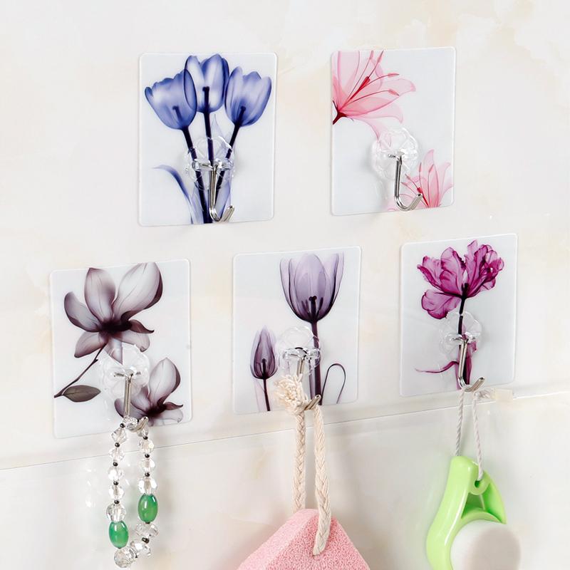家用创意花朵免打孔无痕强力粘胶门后粘钩 厨房浴室墙壁挂架挂钩