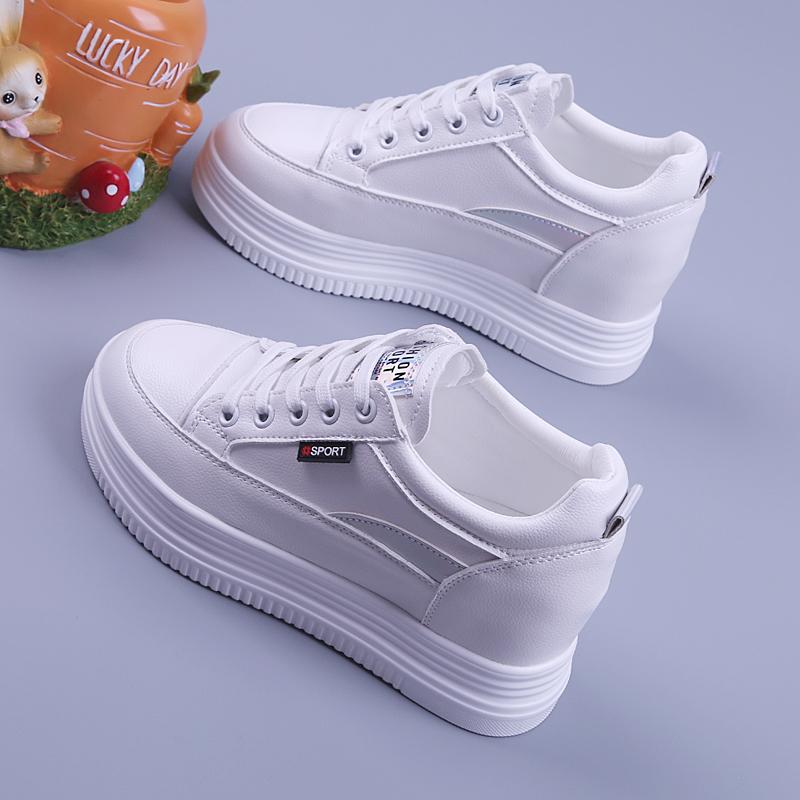 松糕厚底女鞋2021春季新款休闲运动女单鞋百搭内增高显瘦小白鞋女