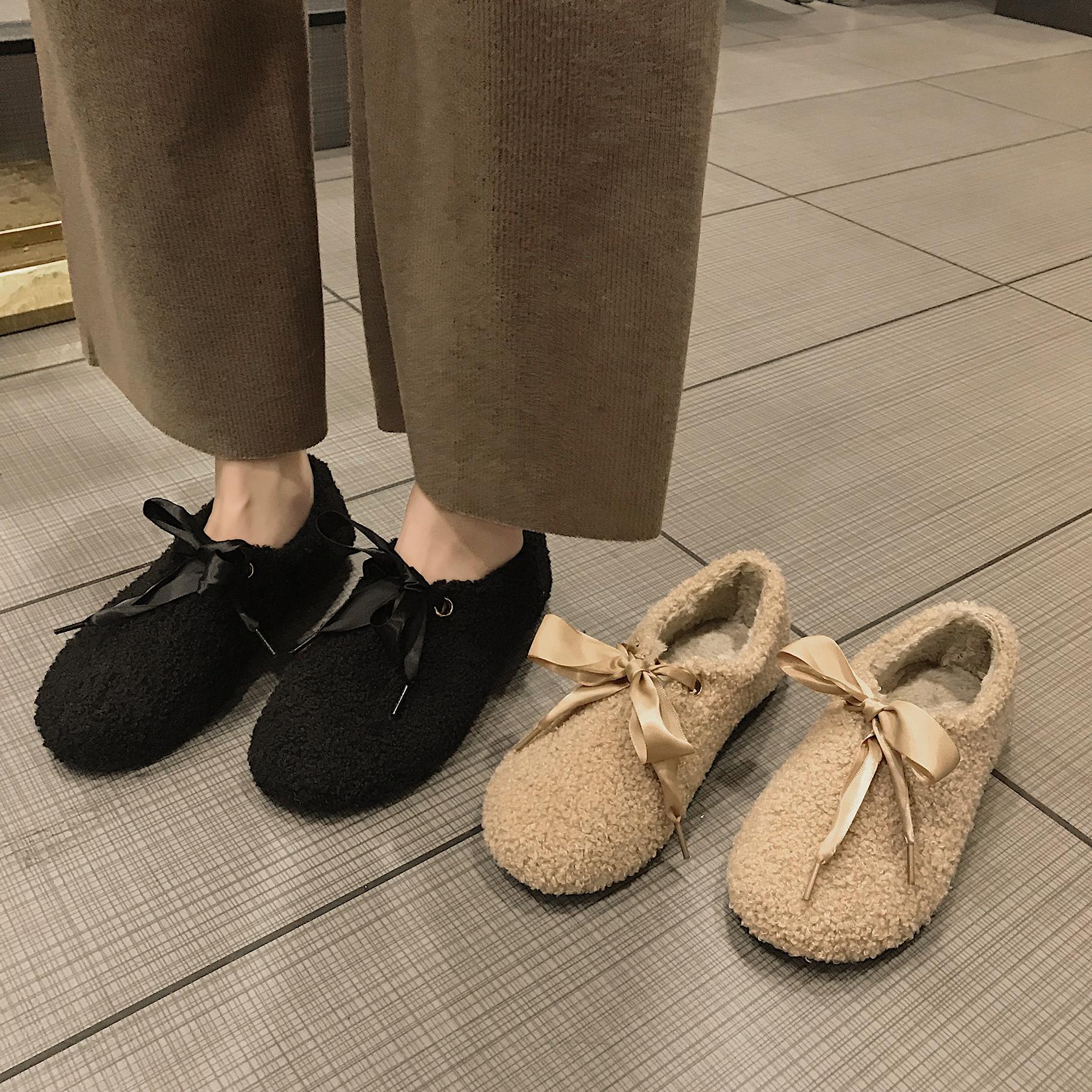 网红一脚蹬豆豆鞋女2018新款韩版百搭蝴蝶结毛毛女鞋平底加绒棉鞋