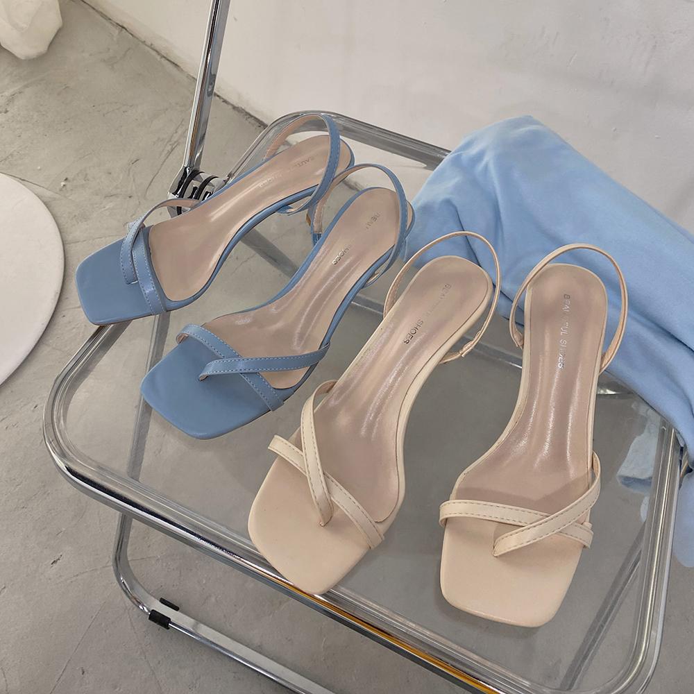 网红凉鞋女仙女风2020夏季新款ins韩版简约百搭细跟时尚高跟鞋女图片