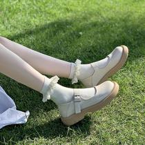 ins2021夏季新款玛丽珍鞋日系jk软妹圆头娃娃鞋纯色一字带皮鞋女