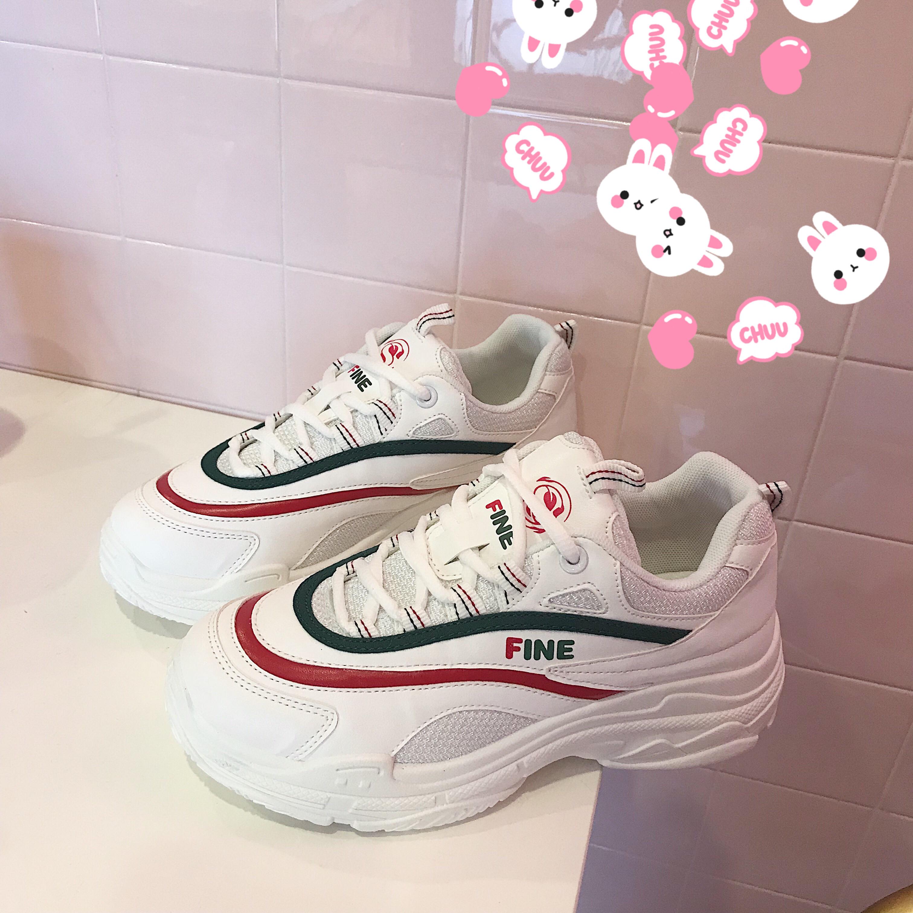 超火的鞋子2018新款透气小白鞋韩版百搭运动休闲鞋女夏原宿老爹鞋