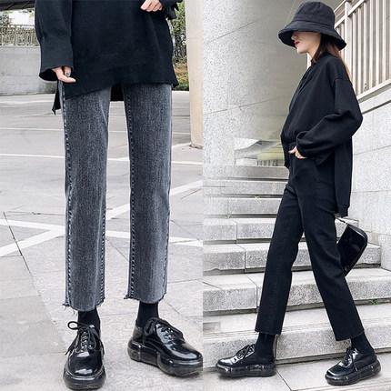 黑色阔腿裤牛仔女九分裤图片