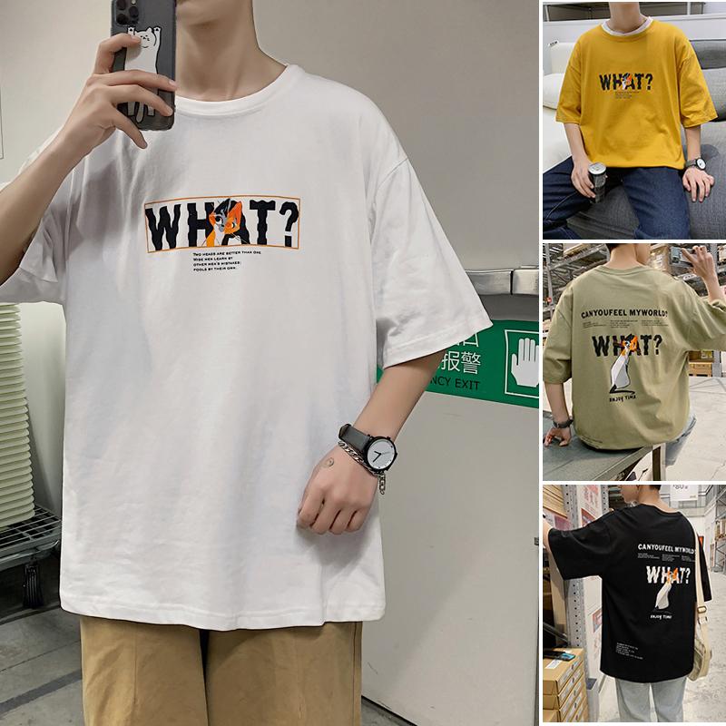 T239/P25 夏季新品港风全棉T恤男士百搭字母印花短袖T恤男