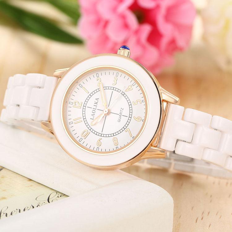 女生腕表新款白色陶瓷女表防水简约数字时尚气质百搭韩版女士手表