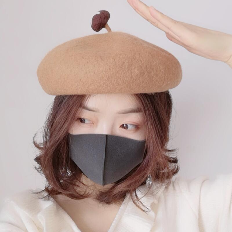 Japanese cartoon lovely Beret woolen cloth thickened warm female wool autumn and winter college students stereo mushroom